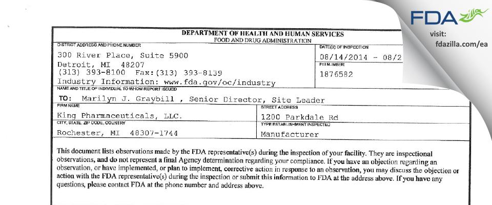 King Pharmaceuticals. FDA inspection 483 Aug 2014