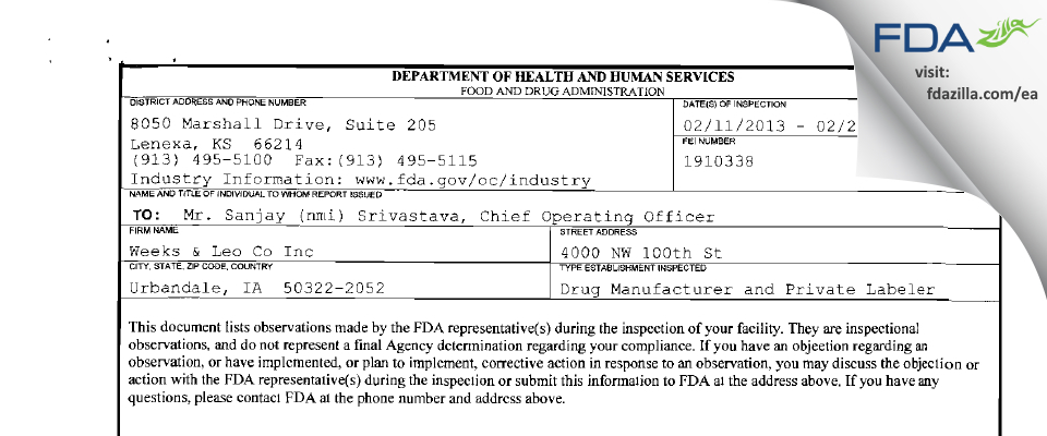 Weeks & Leo Co FDA inspection 483 Feb 2013
