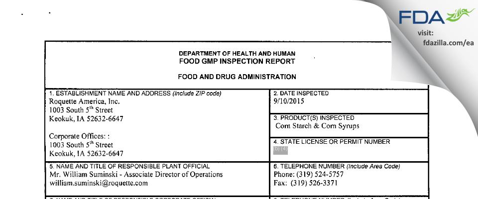 Roquette America FDA inspection 483 Sep 2015