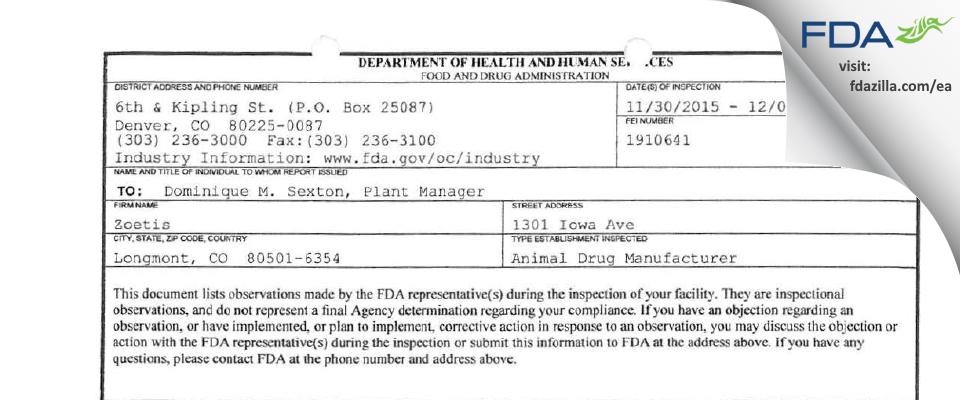 Huvepharma FDA inspection 483 Dec 2015