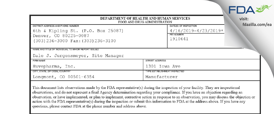 Huvepharma FDA inspection 483 Apr 2019