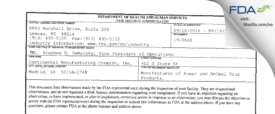 Continental Manufacturing Chemist FDA inspection 483 Sep 2014