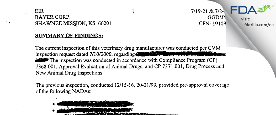 Bayer Healthcare. FDA inspection 483 Jul 2000