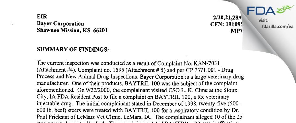 Bayer Healthcare. FDA inspection 483 Feb 2001