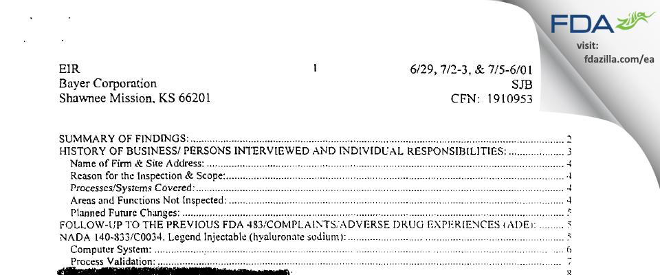 Bayer Healthcare. FDA inspection 483 Jul 2001