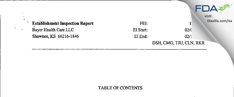 Bayer Healthcare. FDA inspection 483 Feb 2007