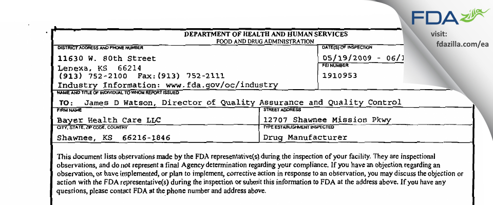 Bayer Healthcare US. FDA inspection 483 Jun 2009