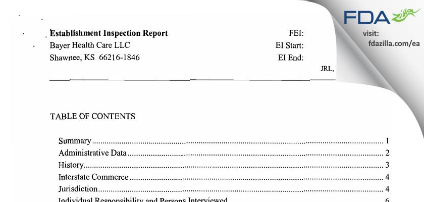 Bayer Healthcare. FDA inspection 483 Jun 2009