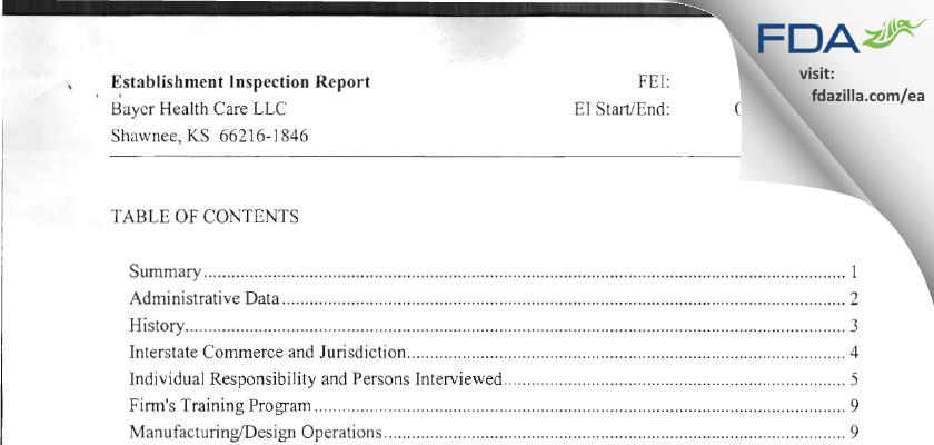 Bayer Healthcare. FDA inspection 483 Jun 2010