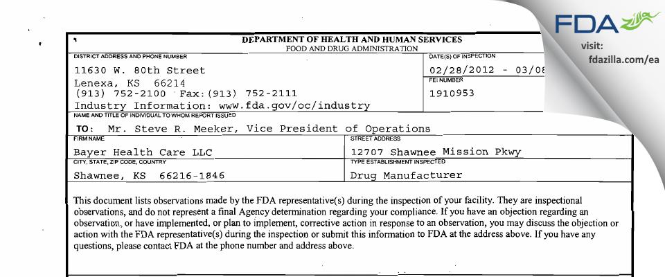 Bayer Healthcare. FDA inspection 483 Mar 2012