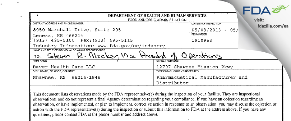 Bayer Healthcare. FDA inspection 483 May 2013