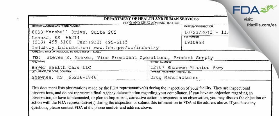 Bayer Healthcare. FDA inspection 483 Nov 2013