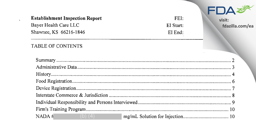 Bayer Healthcare. FDA inspection 483 Nov 2013