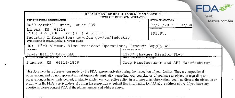 Bayer Healthcare. FDA inspection 483 Jul 2015