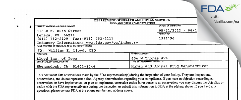 Lloyd of Iowa FDA inspection 483 Jun 2012
