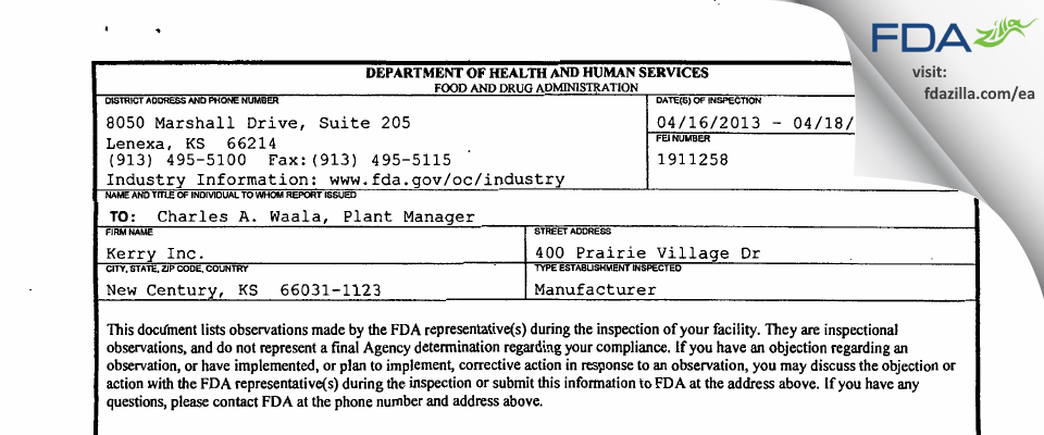Kerry FDA inspection 483 Apr 2013