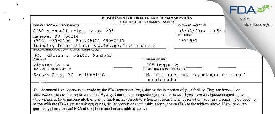 Vitalab FDA inspection 483 May 2014