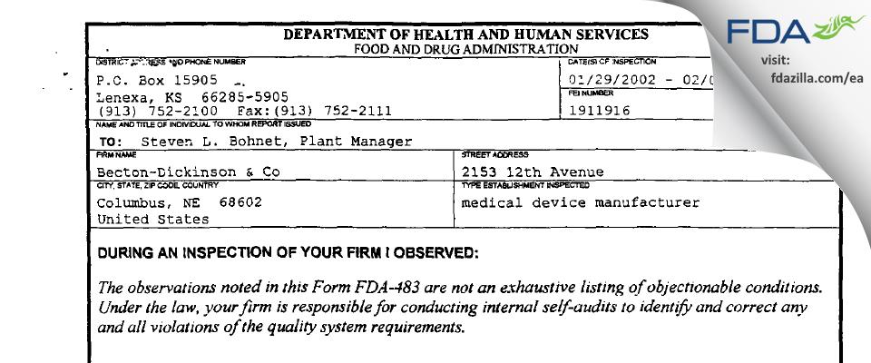 Becton Dickinson And Company FDA inspection 483 Feb 2002