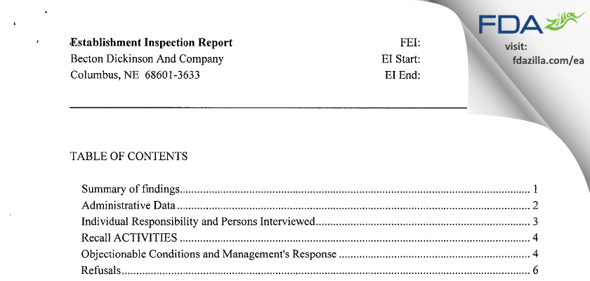Becton Dickinson And Company FDA inspection 483 Sep 2013