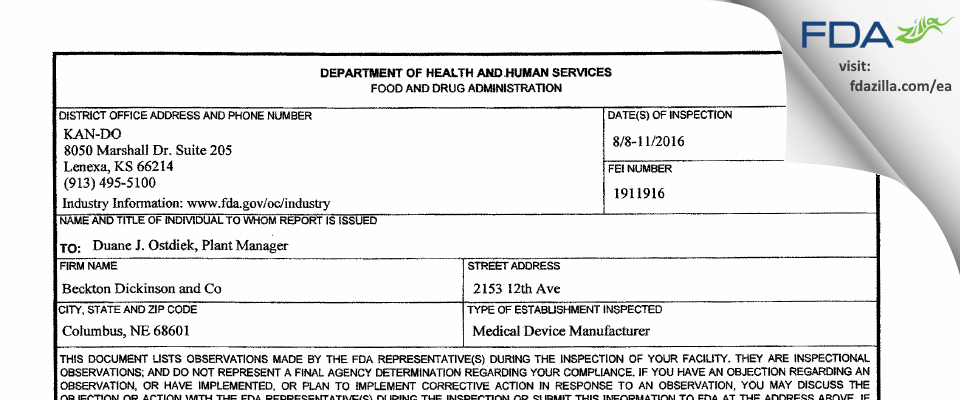Becton Dickinson And Company FDA inspection 483 Aug 2016