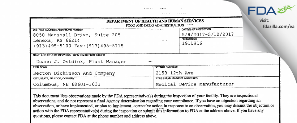 Becton Dickinson And Company FDA inspection 483 May 2017