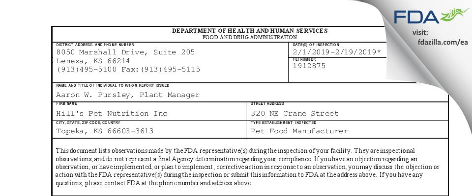 Hill's Pet Nutrition FDA inspection 483 Feb 2019
