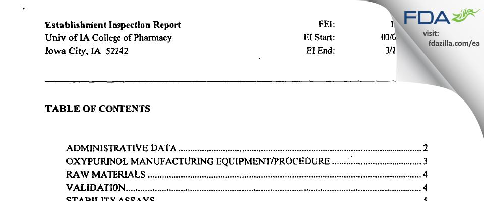 University of Iowa Pharmaceuticals (UIP) FDA inspection 483 Mar 2004