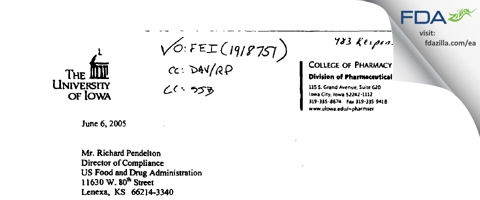 University of Iowa Pharmaceuticals (UIP) FDA inspection 483 May 2005