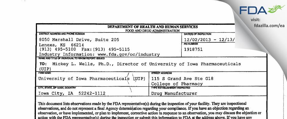 University of Iowa Pharmaceuticals (UIP) FDA inspection 483 Dec 2013
