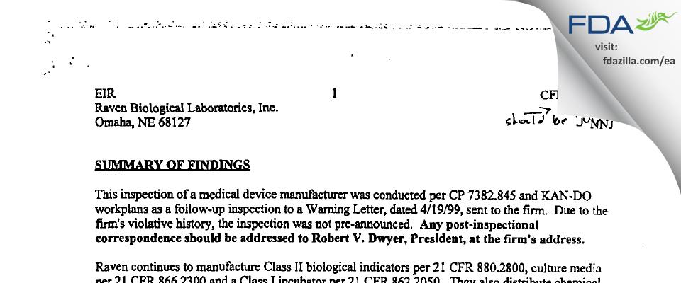 Mesa Labs FDA inspection 483 Jul 2001