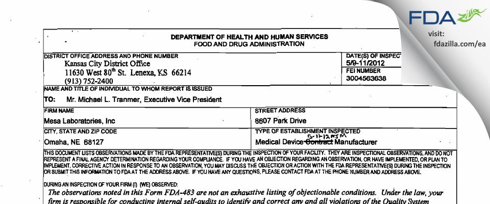 Mesa Labs FDA inspection 483 May 2012