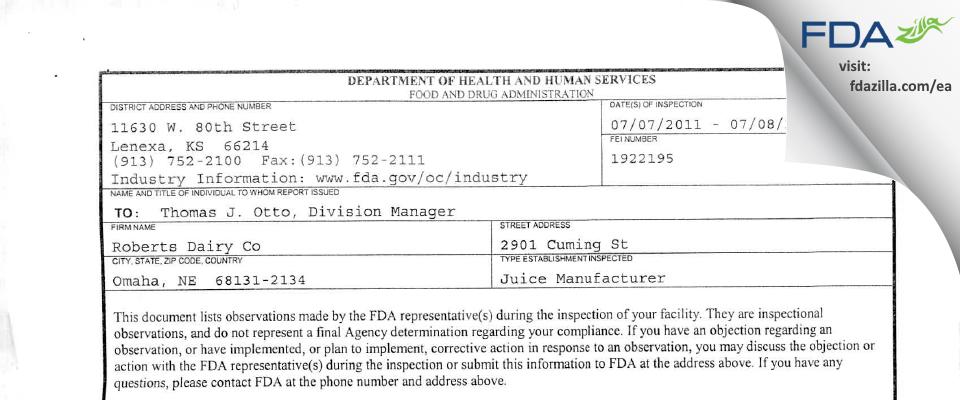 Hiland Dairy Foods Company FDA inspection 483 Jul 2011