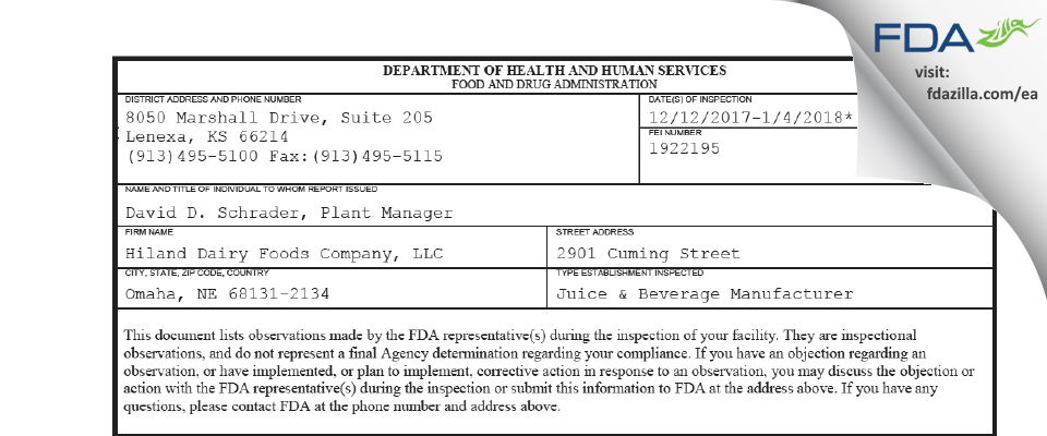 Hiland Dairy Foods Company FDA inspection 483 Jan 2018