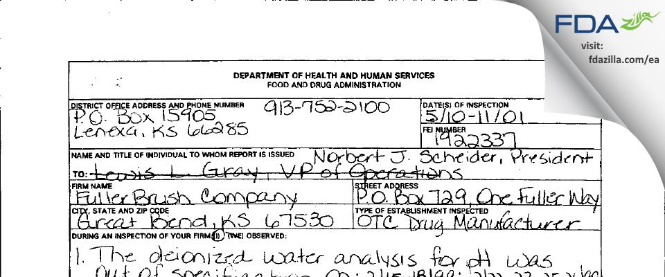 Fuller Industries FDA inspection 483 May 2001