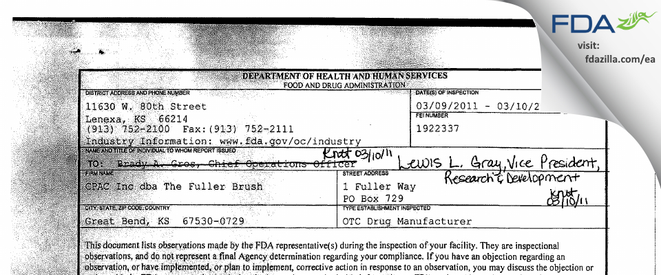Fuller Industries FDA inspection 483 Mar 2011