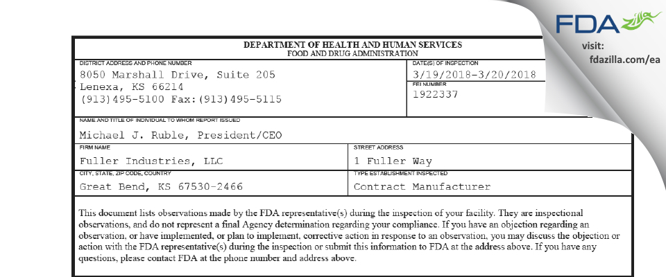 Fuller Industries FDA inspection 483 Mar 2018