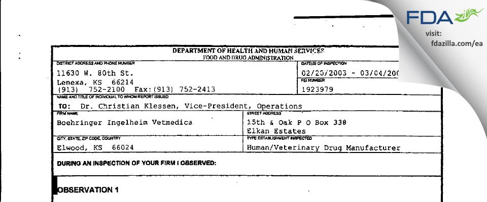 Strategic Veterinary Pharmaceuticals FDA inspection 483 Mar 2003