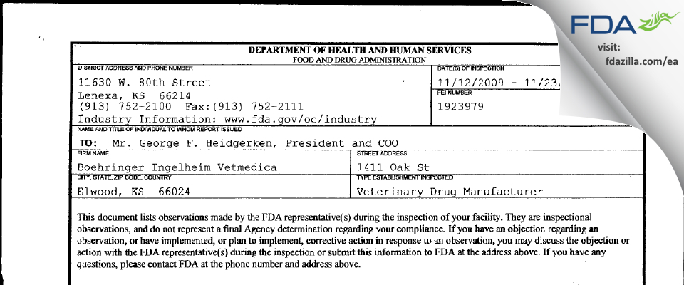 Strategic Veterinary Pharmaceuticals FDA inspection 483 Nov 2009
