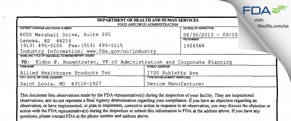 Allied Healthcare Products FDA inspection 483 Sep 2013