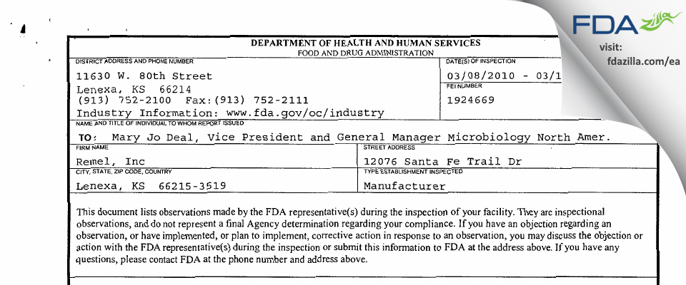 Remel FDA inspection 483 Mar 2010