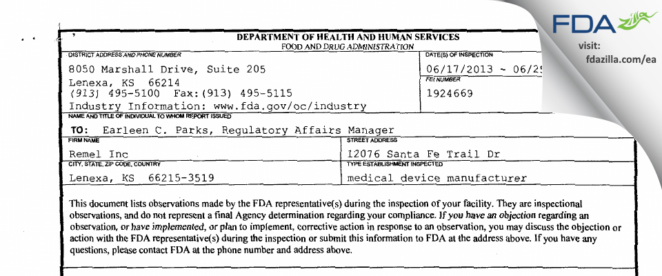 Remel FDA inspection 483 Jun 2013