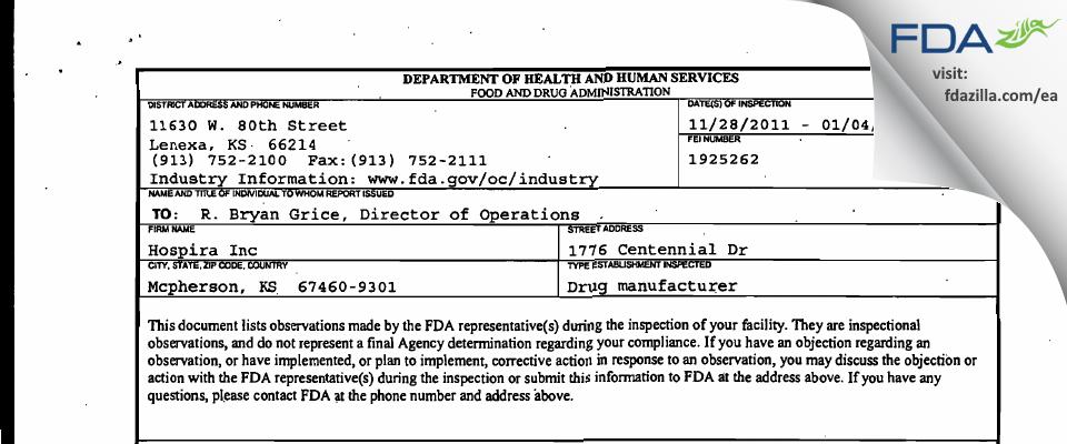 Hospira A Pfizer Company FDA inspection 483 Jan 2012