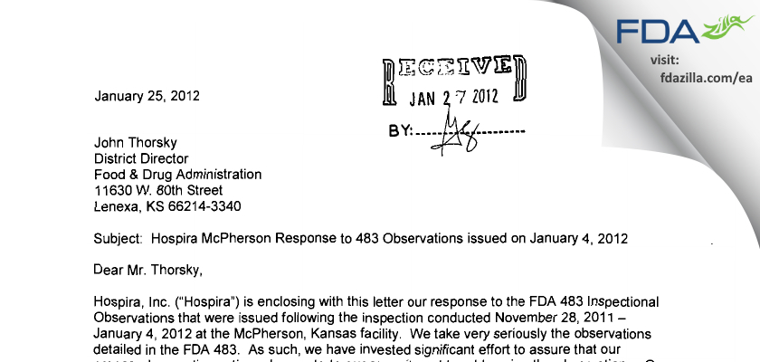 Hospira A Pfizer Company FDA inspection 483 Jan 2012