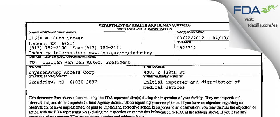 ThyssenKrupp Access FDA inspection 483 Apr 2012