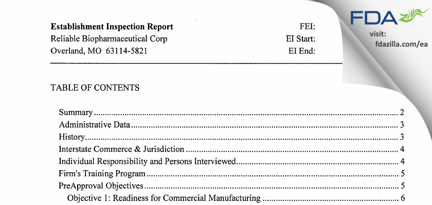 Reliable Biopharmaceutical FDA inspection 483 Jan 2013