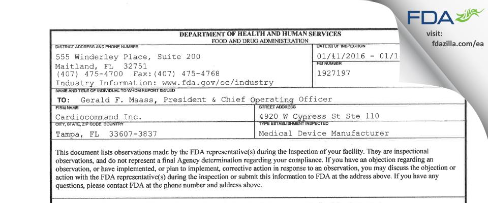 Cardiocommand FDA inspection 483 Jan 2016
