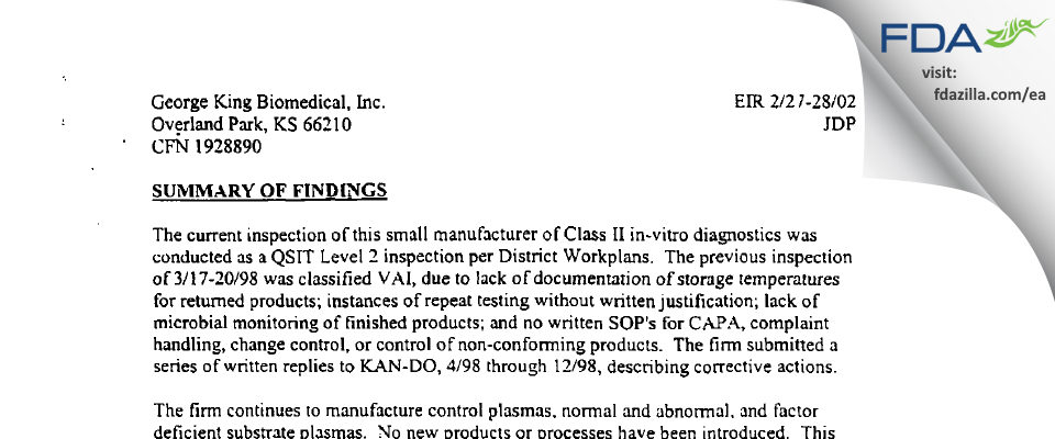 George King Bio-Medical FDA inspection 483 Feb 2002