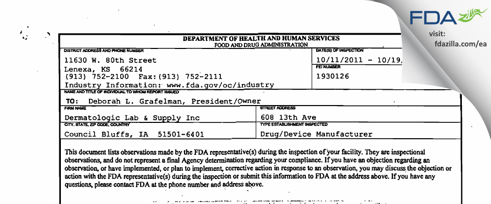 Dermatologic Lab & Supply FDA inspection 483 Oct 2011