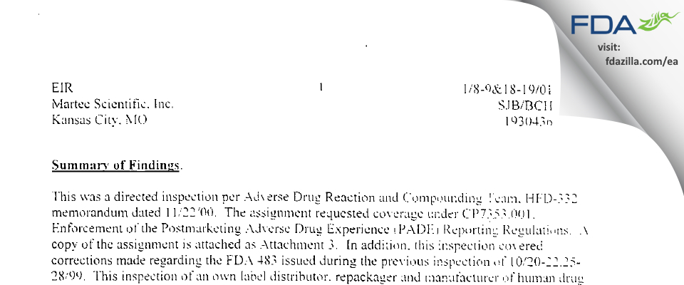 Nostrum Labs FDA inspection 483 Jan 2001