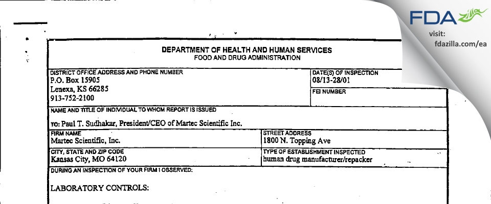 Nostrum Labs FDA inspection 483 Aug 2001
